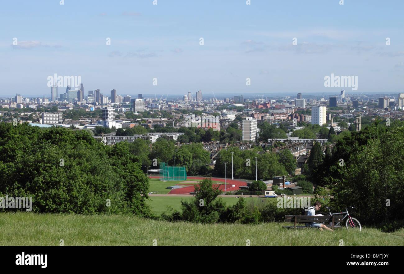 London skyline view from Parliament Hill Hampstead Heath June 2010 Stock Photo