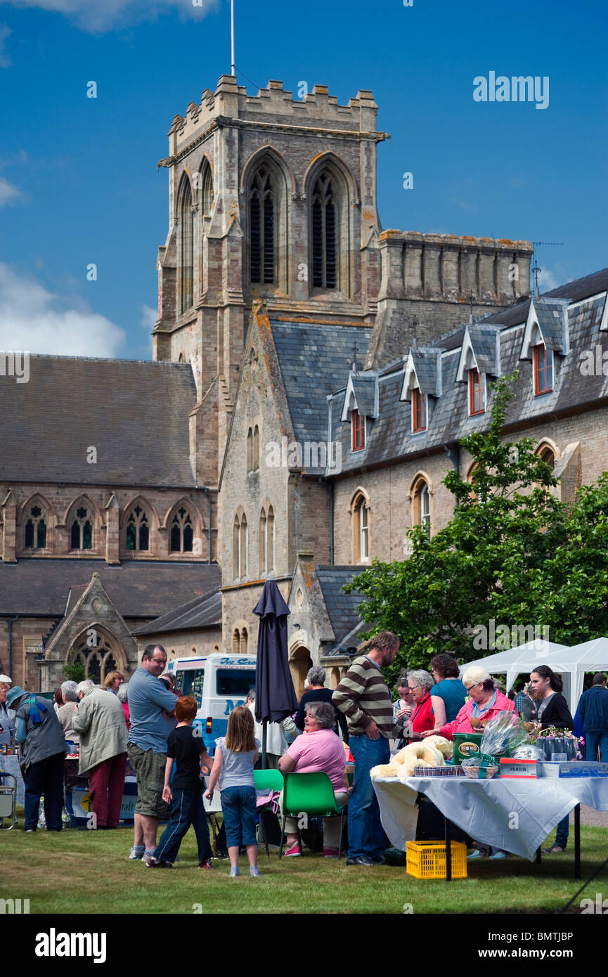 Fete at Belmont Abbey, Hereford, UK. Church fete held outside in summer. - Stock Image