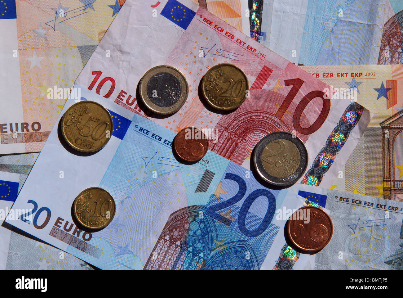 Euro coins and notes, Mijas Costa, Costa del Sol, Malaga Province