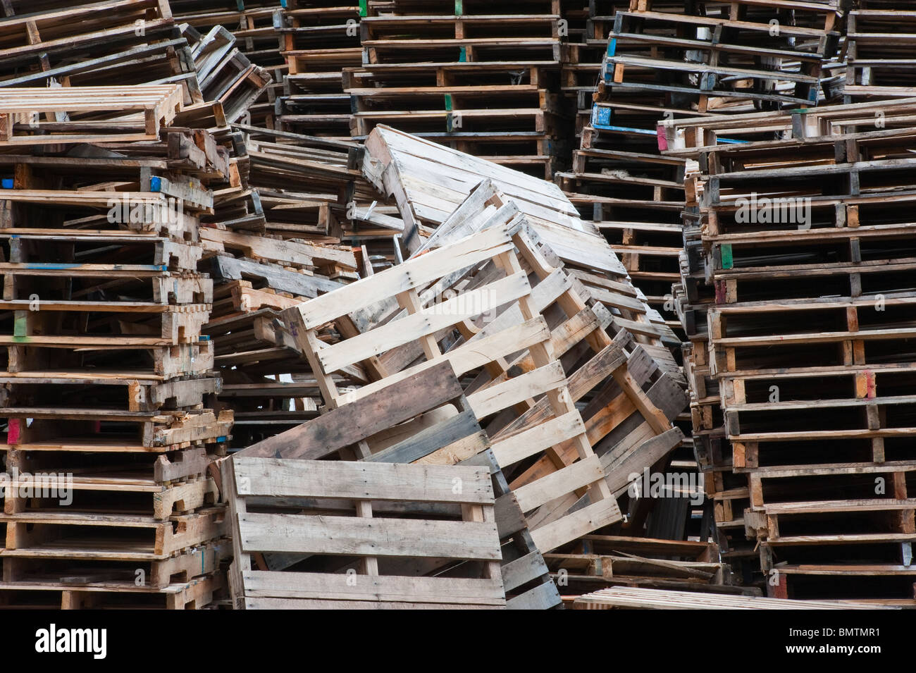 Pallets stacked at a recycling company in Mason County
