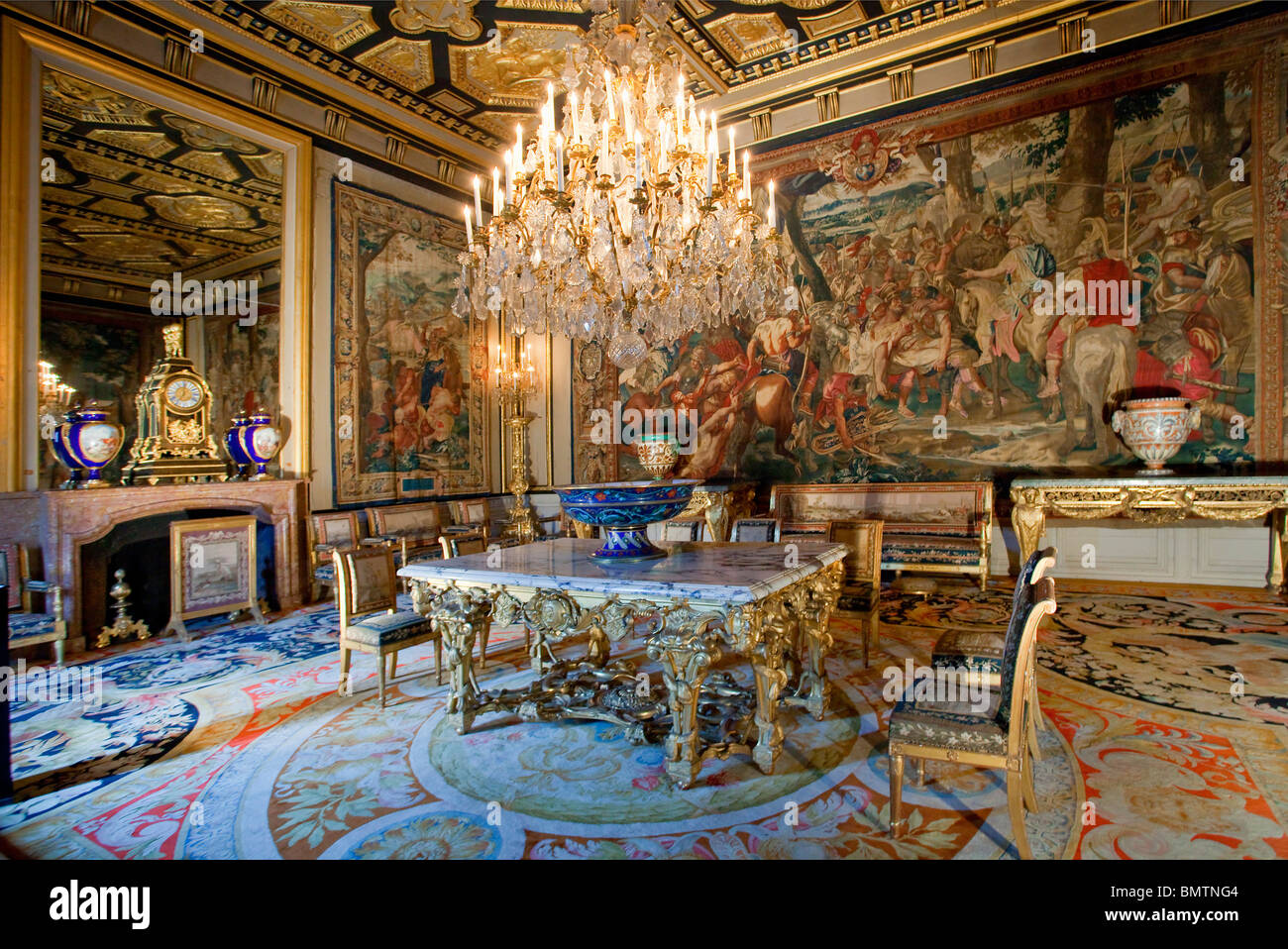 FRANCE, FONTAINEBLEAU CASTLE, THE POPE'S APARTMENT, - Stock Image