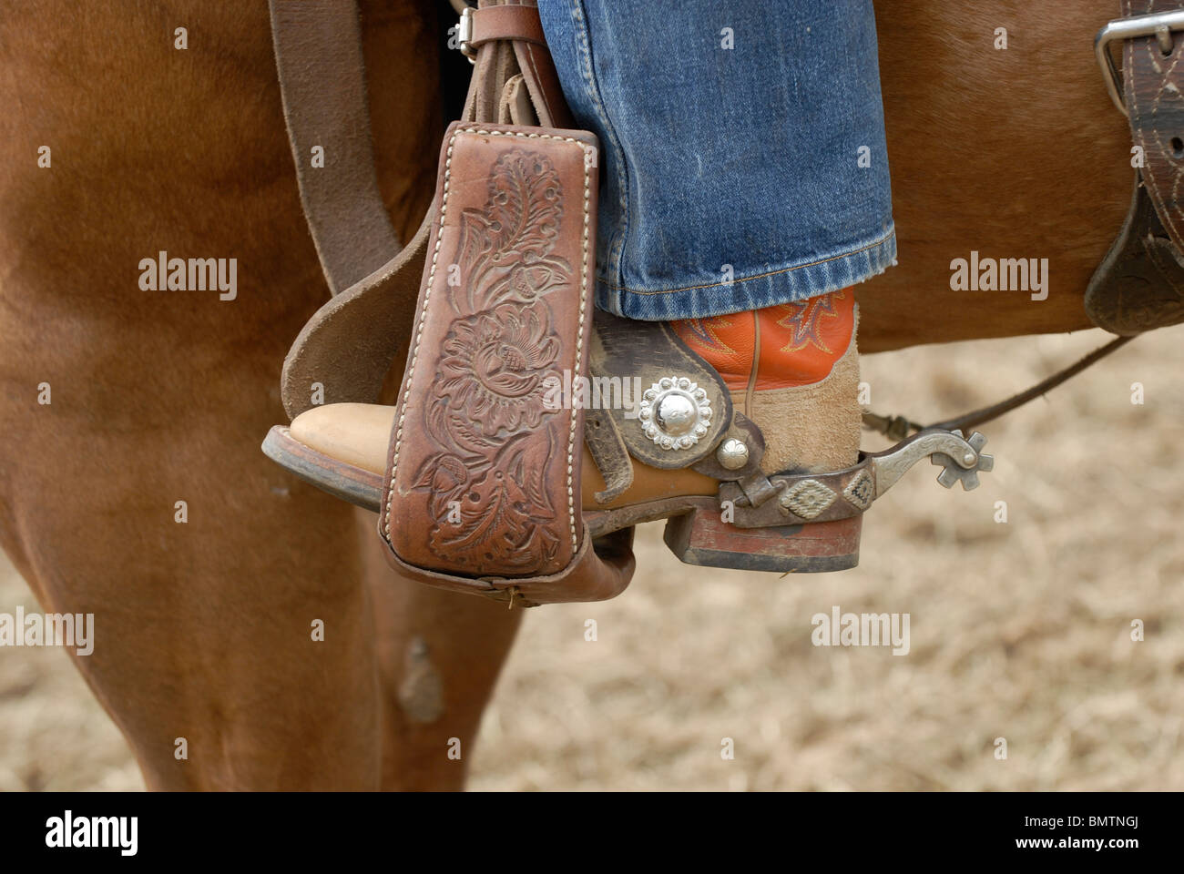Close-up of a cowboy boot in leather stirrup Stock Photo