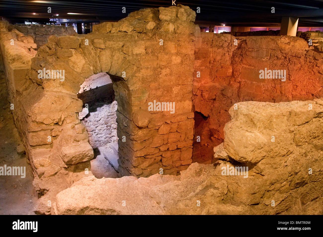 France, Paris, crypt of parvis Notre-Dame-de-Paris - Stock Image