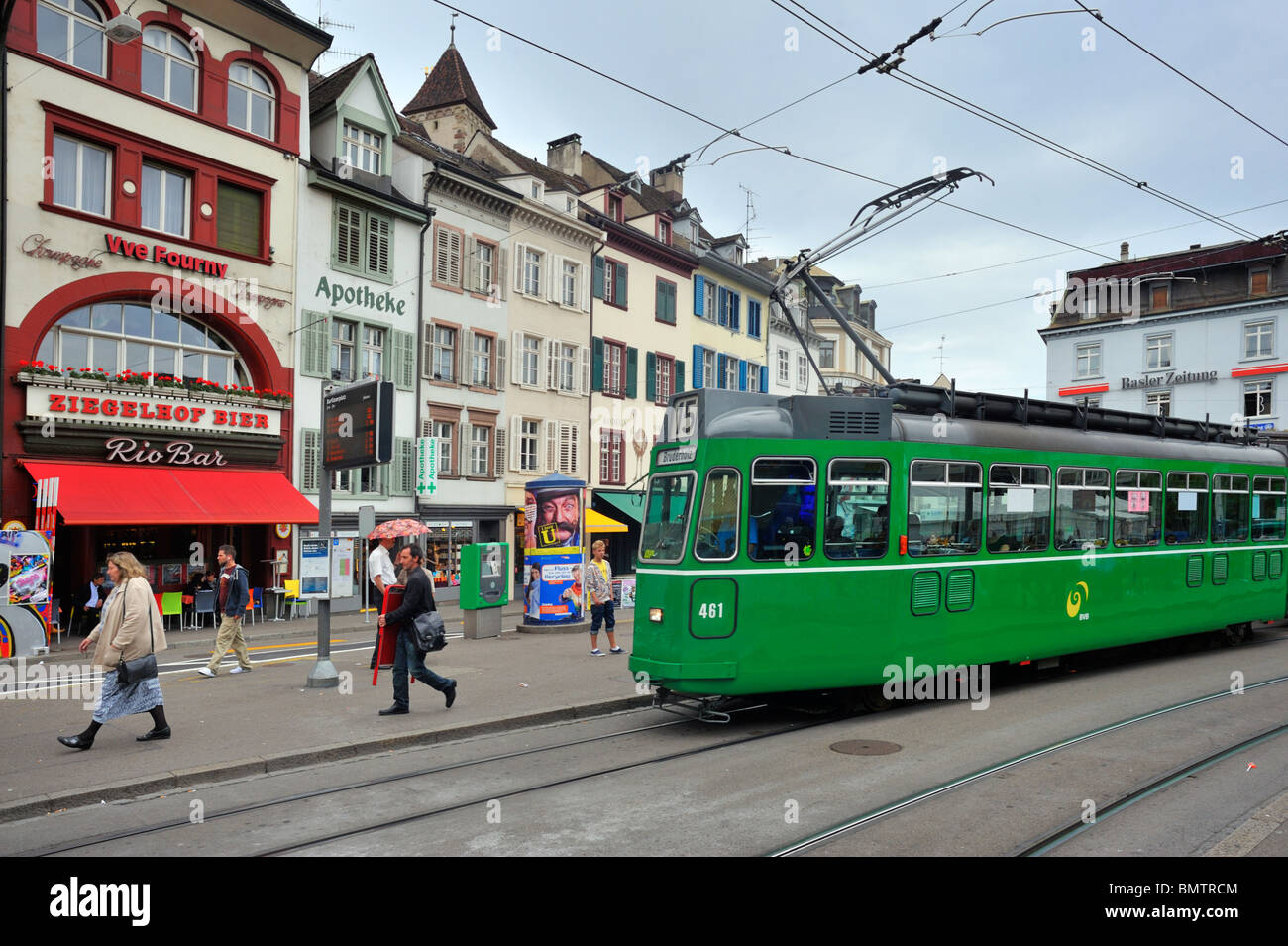 Tram at the Barfuesserplatz  in the city center of Basel - Stock Image