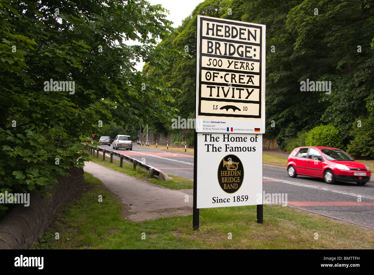Sign on entry to Hebden Bridge, West Yorkshire - Stock Image
