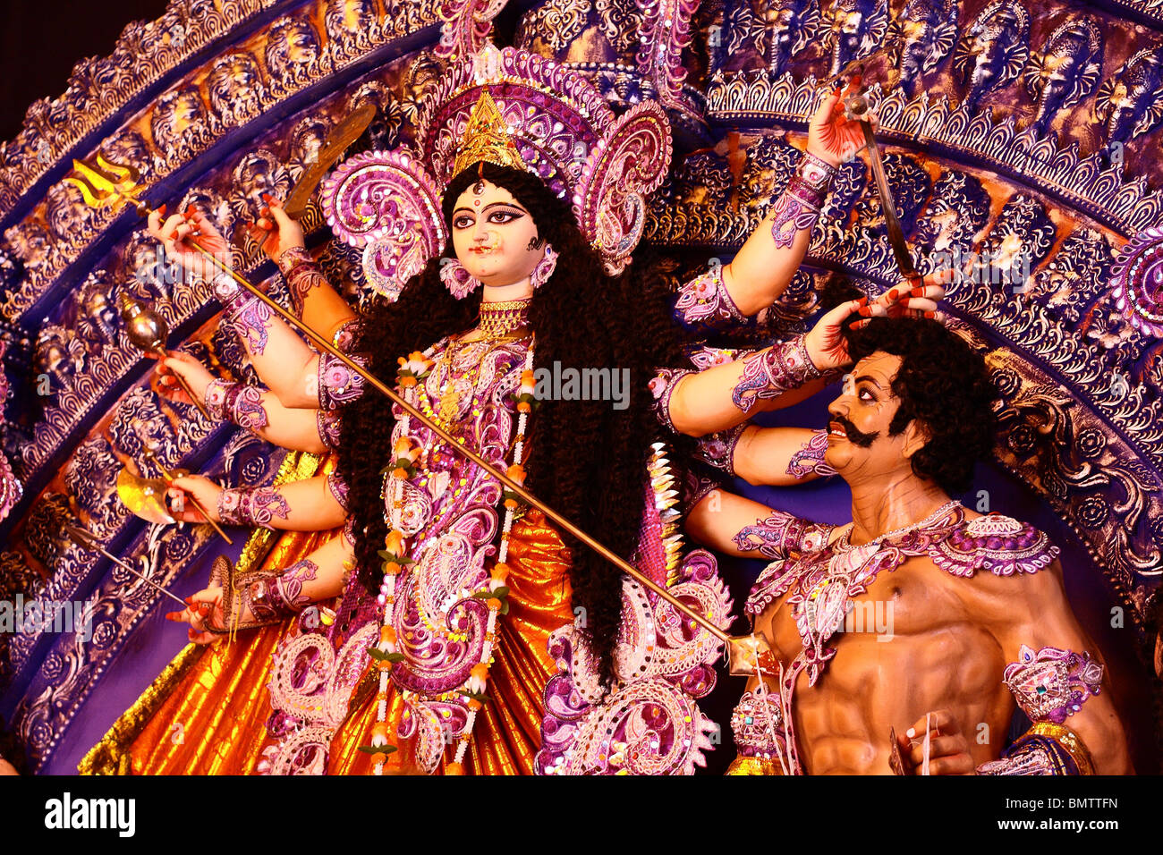 Mahisasura Mardini - Featuring Mahisasura and The Goddess Durga - Stock Image