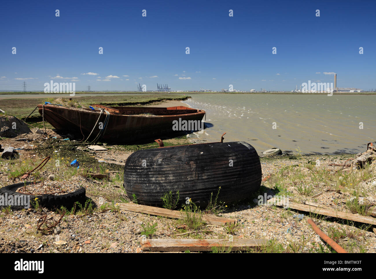 Decommissioned industrial site at Coal Wash Wharf, Sheppey. - Stock Image