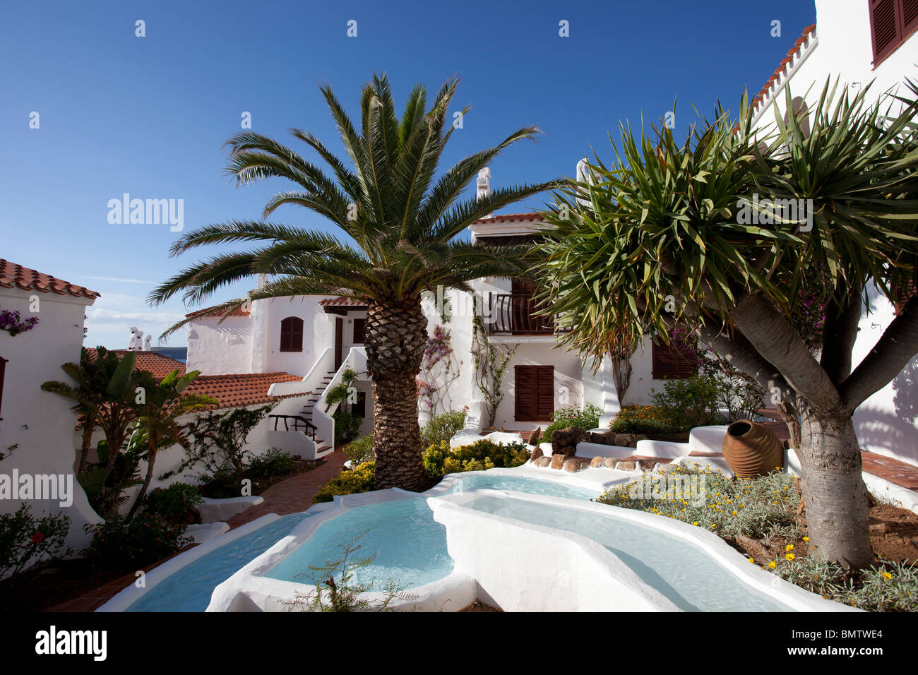 luxury spanish villa with water feature in courtyard Stock Photo