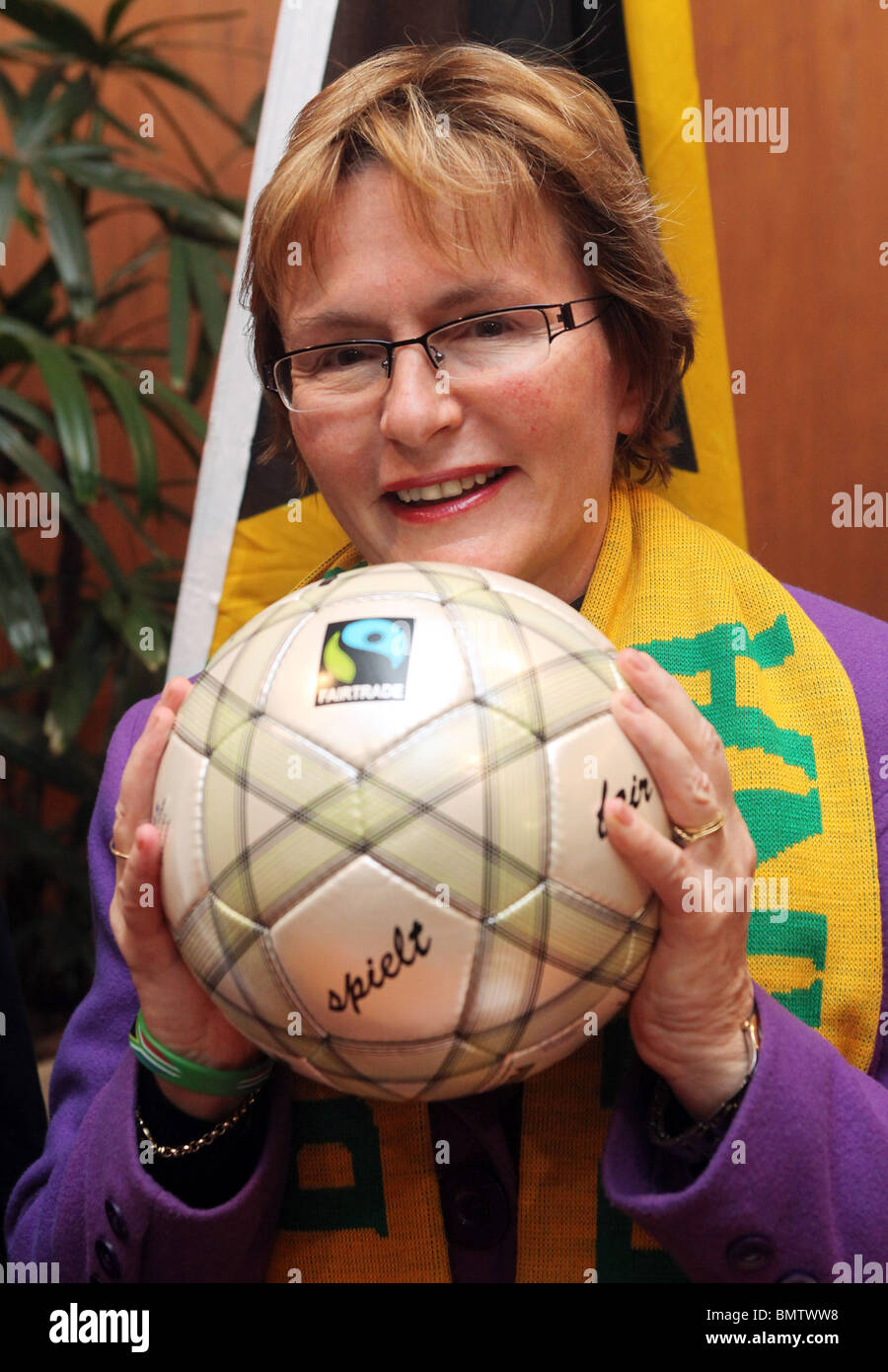 Western Cape Premier HELEN ZILLE holding soccer ball - Stock Image