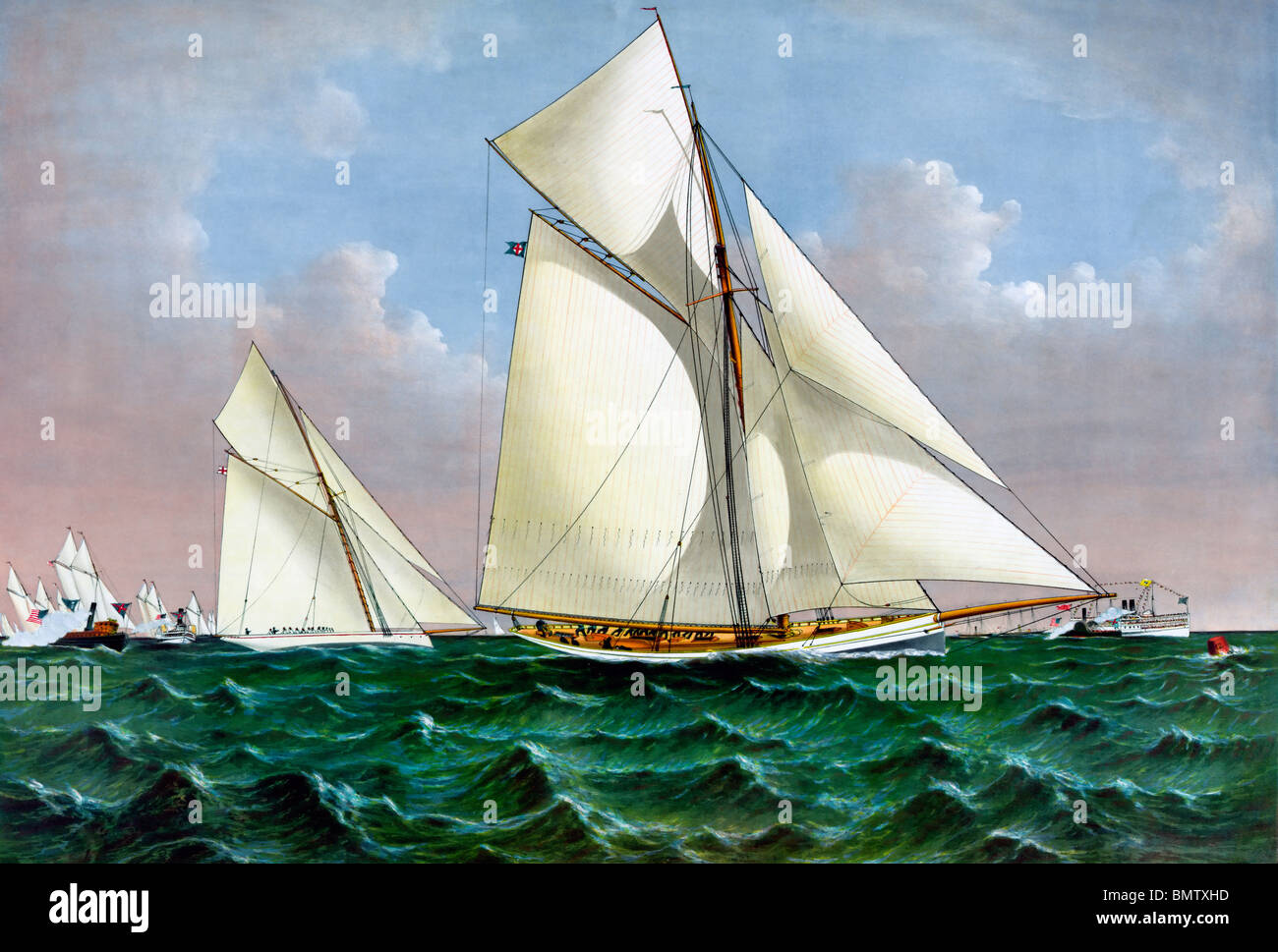 Mayflower,  victorious U.S. defender of the America's Cup Yacht Race in 1886 against English challenger Galatea. - Stock Image