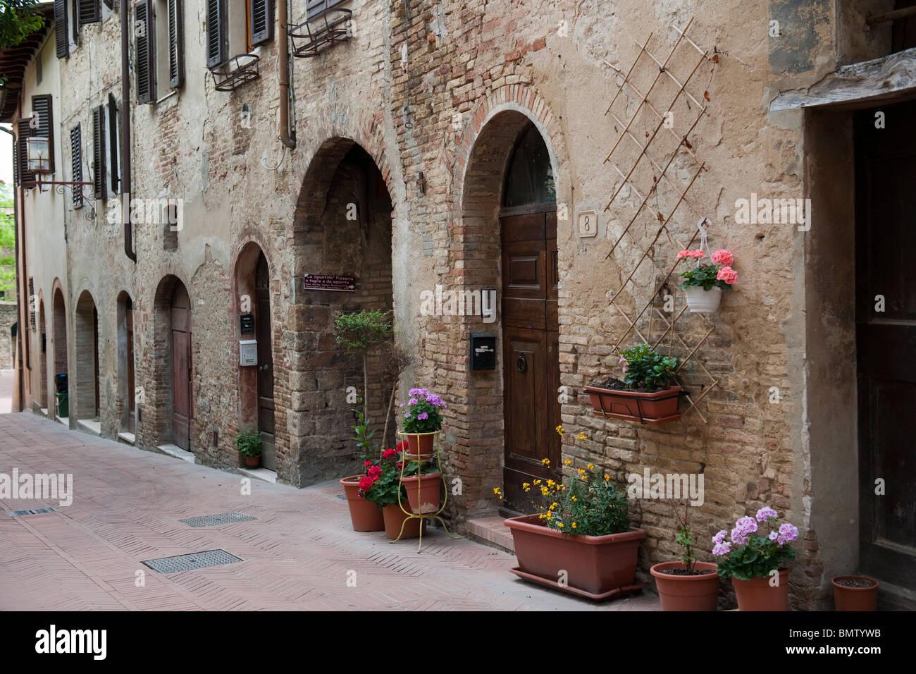 Deserted street in San Gimignano Tuscany Italy-2 - Stock Image