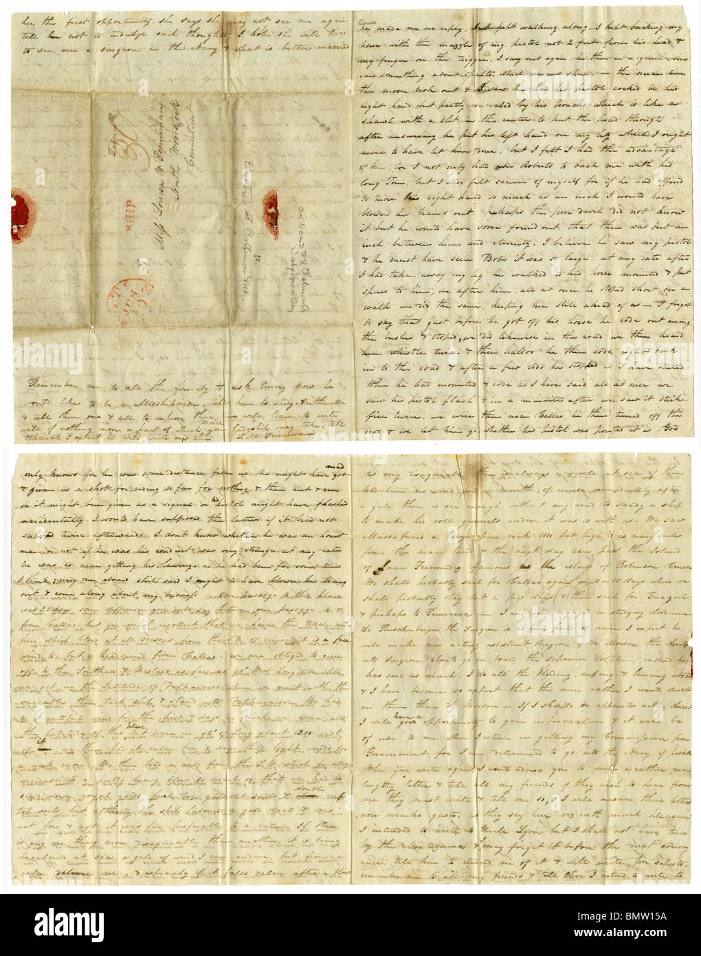 1832 stampless letter written 'on board the U.S. Ship Falmouth, Valparaiso Bay, February 19, 1832.' - Stock Image