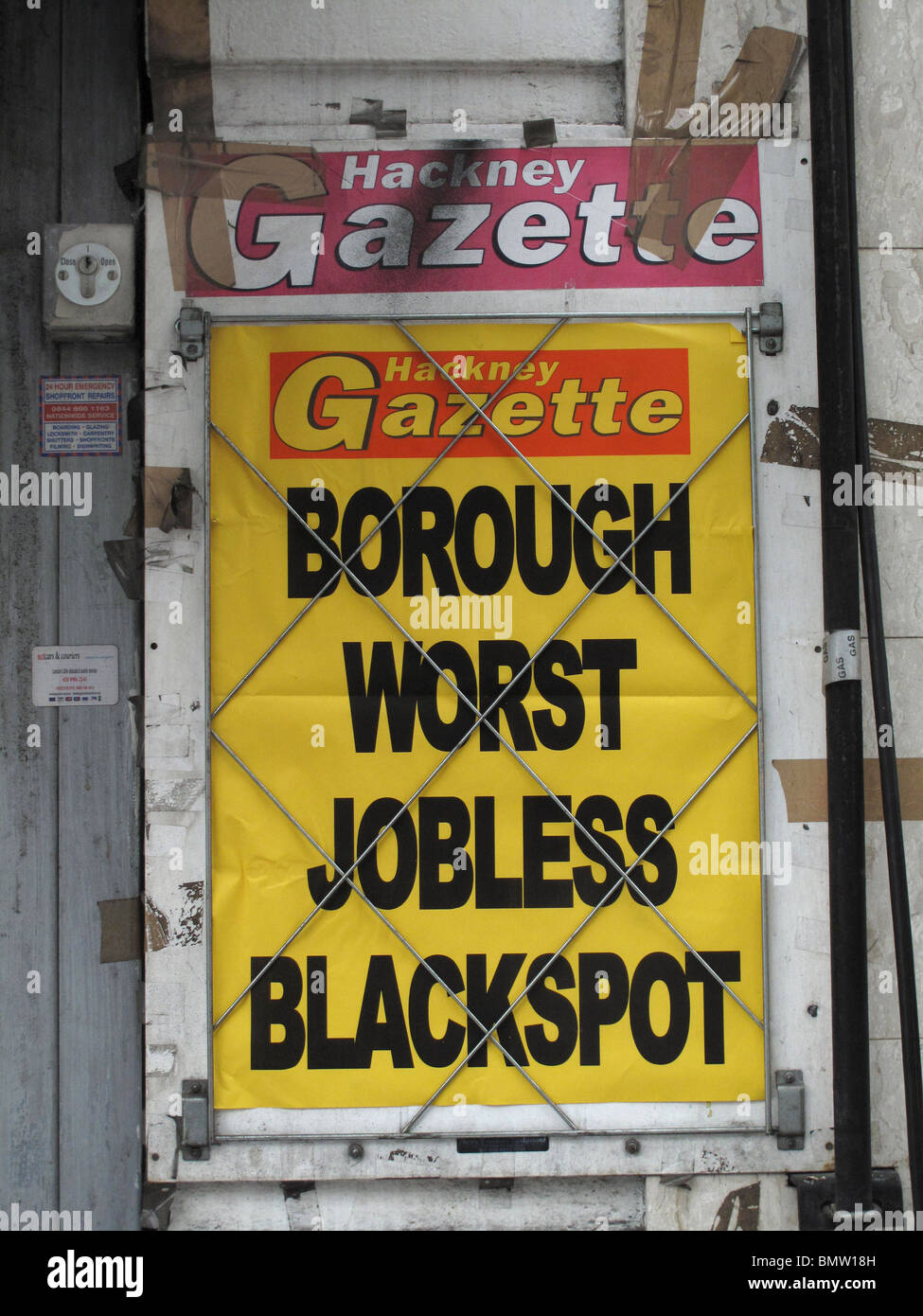 London Fields Hackney London Newspaper placard saying unemployment worst in Hackney - Stock Image
