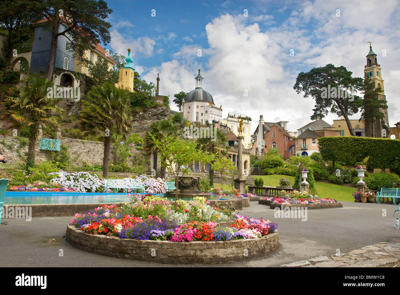 Portmeirion village. Clough Williams-Ellis fantasy village in North Wales. Site of the television series the prisoner. - Stock Image