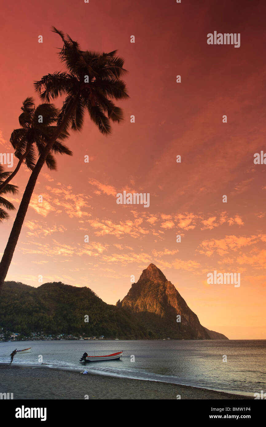 Caribbean, St Lucia, Petit Piton and Soufriere Bay - Stock Image