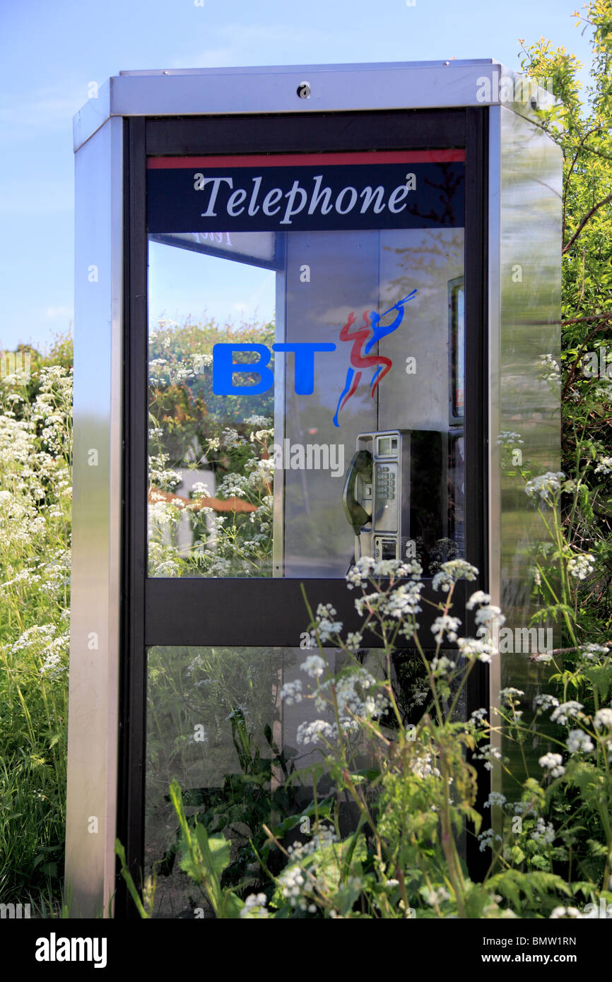 BT phone box with piper logo surrounded by cow parsley - Stock Image