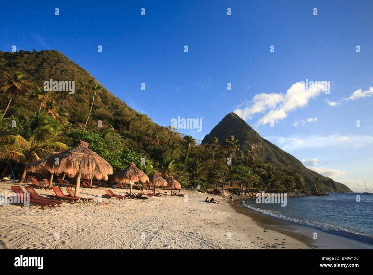 Caribbean, St Lucia, Gros Piton, (UNESCO World Heritage Site) and Anse des Pitons Beach (Anse Jalousie) - Stock Image