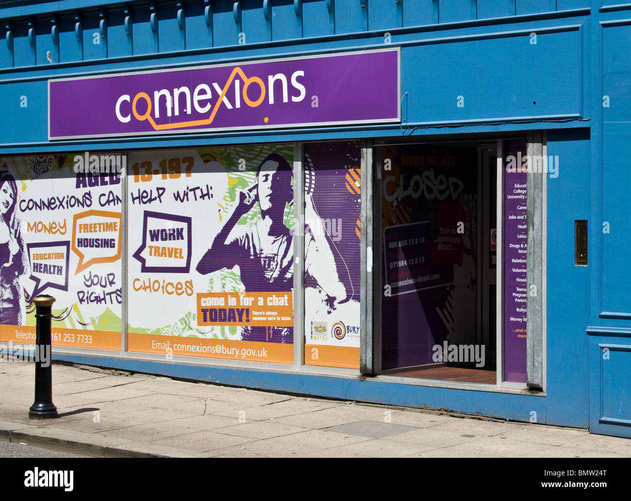 Connexions (Youth support service), town centre, Bury, Greater Manchester, UK - Stock Image
