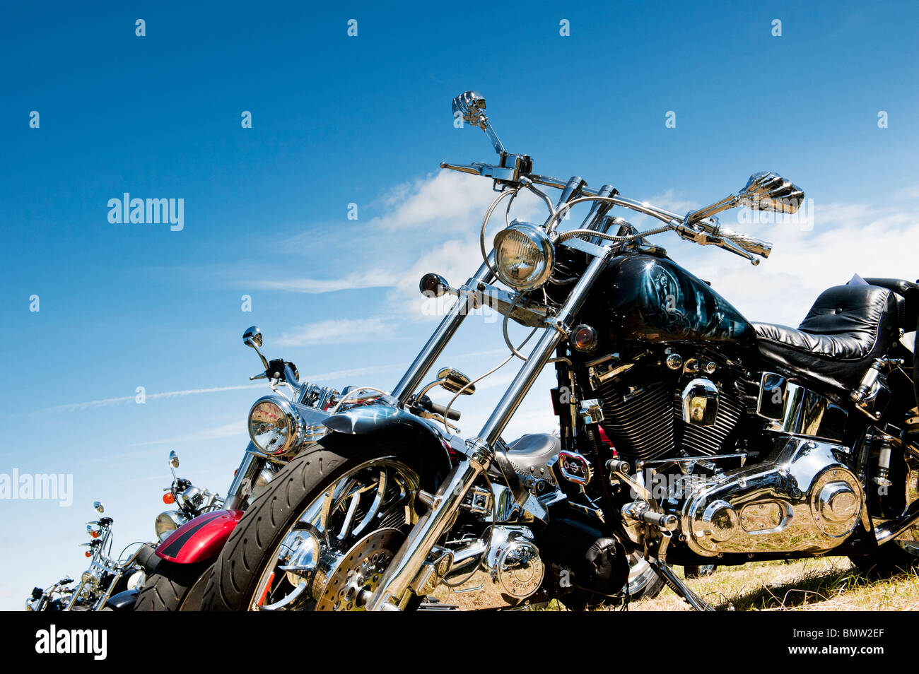 Custom Harley Davidson motorcycle at a bike show in England - Stock Image