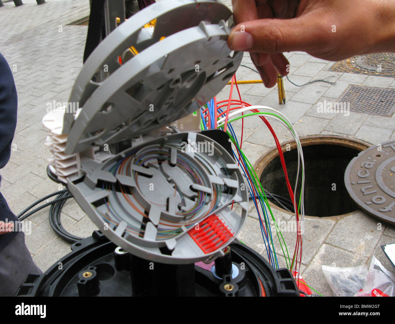 fiber optics install road - Stock Image