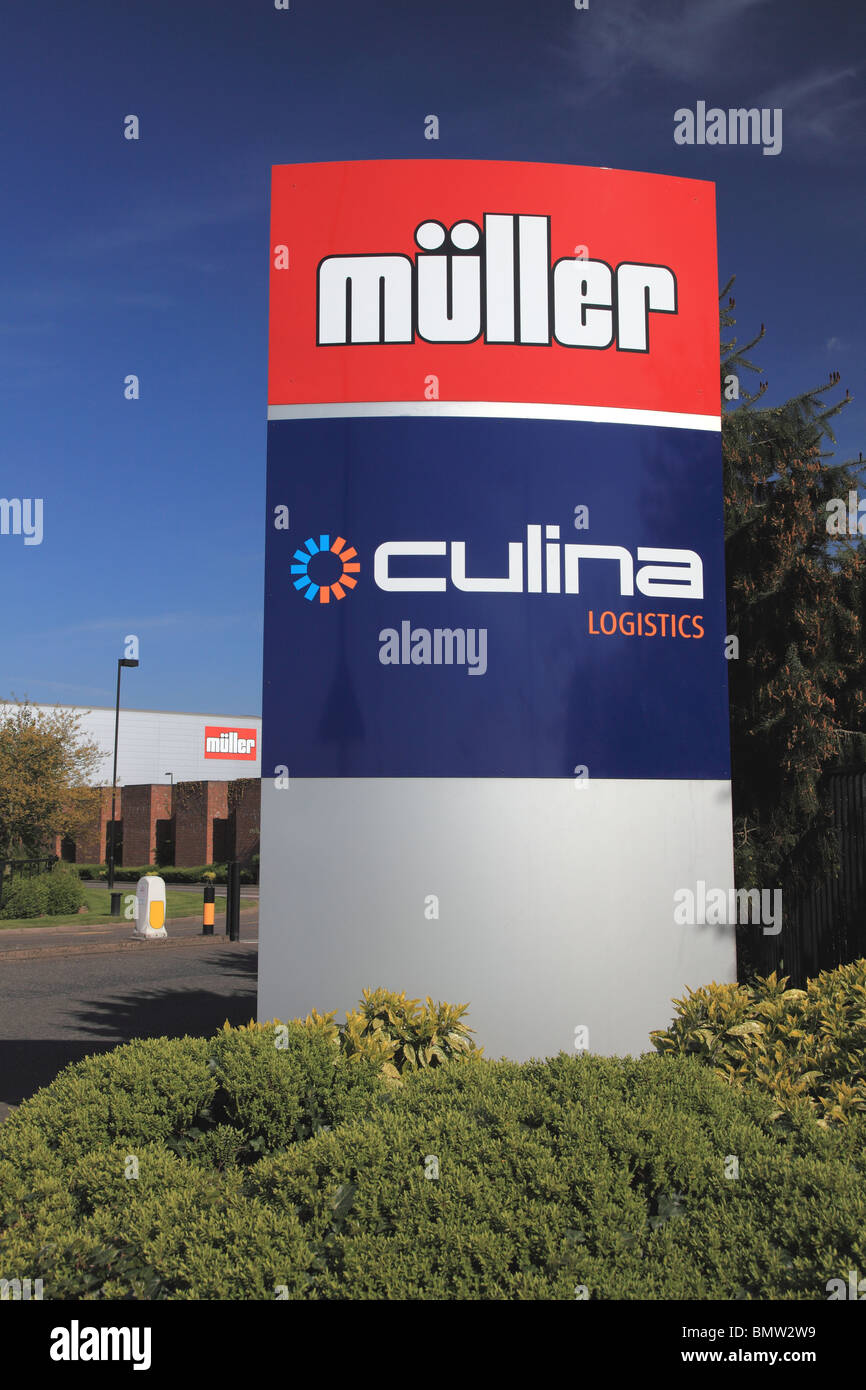 Entrance to the Culina logistics site next to and owned by Müller dairy, Market Drayton, Shropshire, England, - Stock Image
