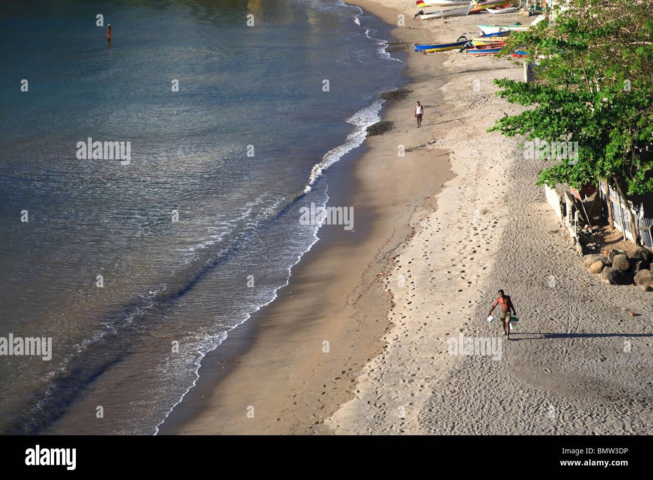 Caribbean, St Lucia, Anse La Raye Village and Beach Stock Photo