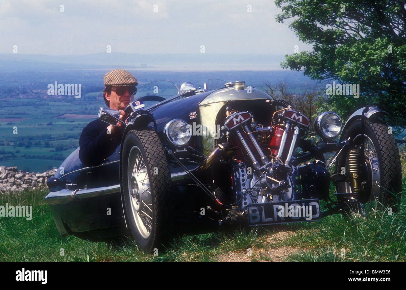 1934 Morgan Matchless three-wheeler car on English country road - Stock Image