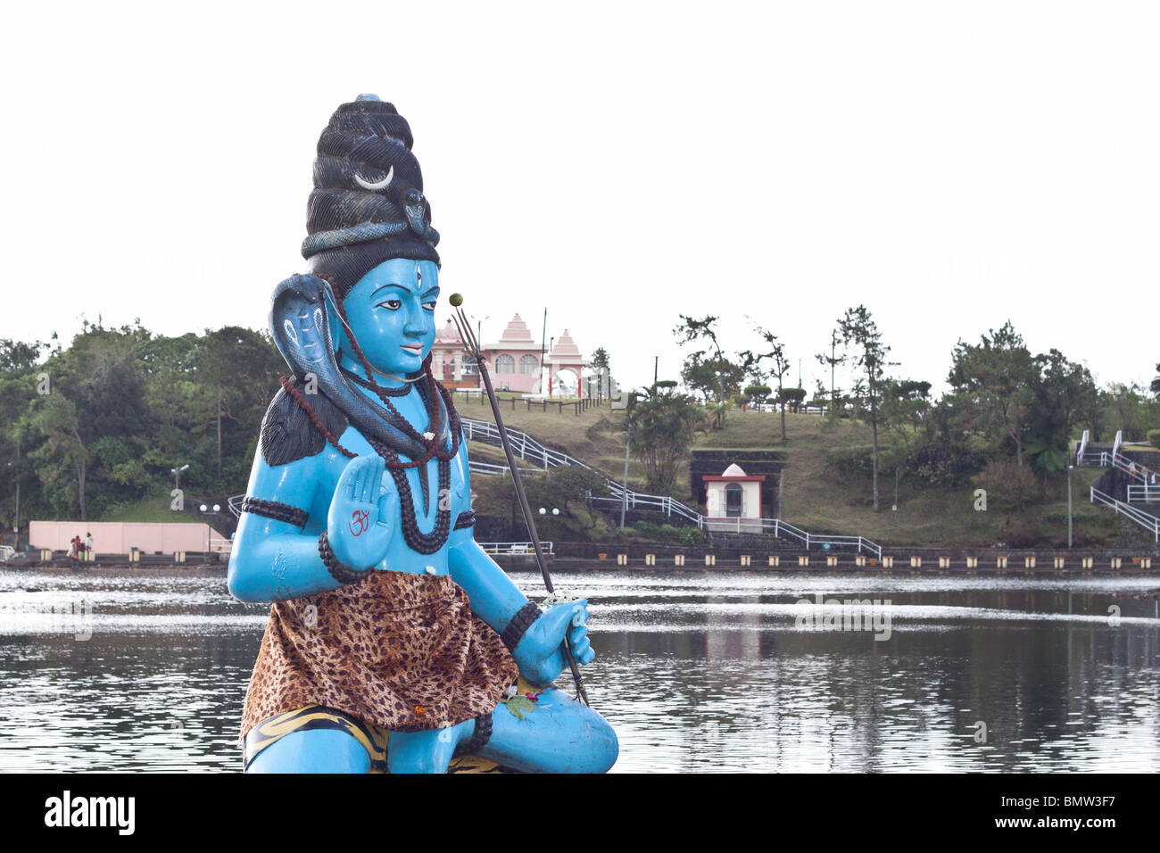 statue of lord Shiva at the sacred lake of Grand Bassin  in Mauritius. - Stock Image