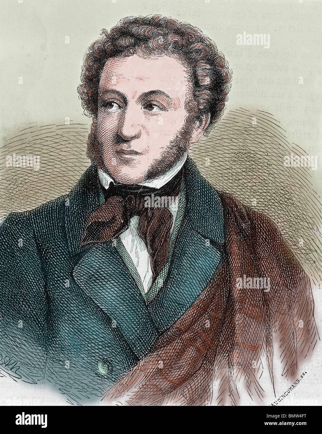 Pushkin, Aleksandr Sergeevic (Moscow ,1799-Petersburg, 1837). Russian poet. Colored engraving. - Stock Image