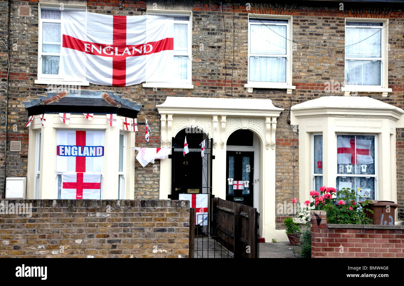 Houses in London during 2010 football World Cup - Stock Image