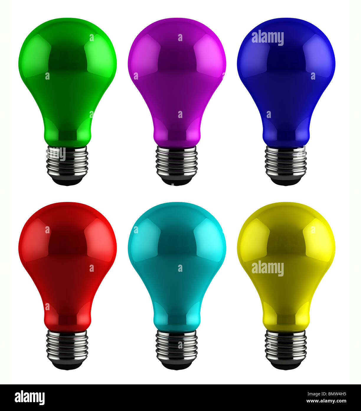 Colorful light bulbs - Stock Image