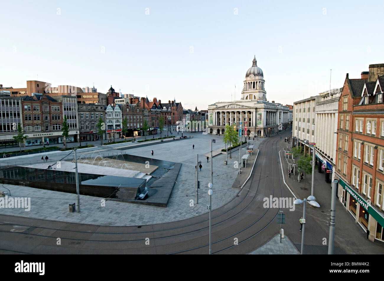 nottingham market square taken from a high angle overview - Stock Image