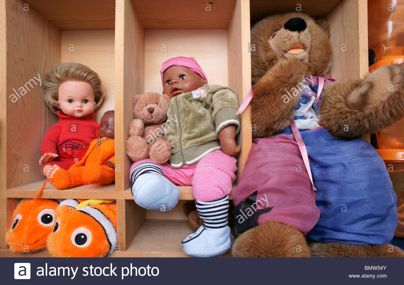 Toys in a childs bedroom - Stock Image