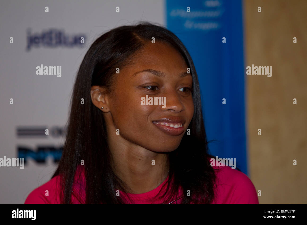 Allyson Felix (USA) at a press conference for the 2010 New York Grand Prix, IAAF Diamond League - Stock Image