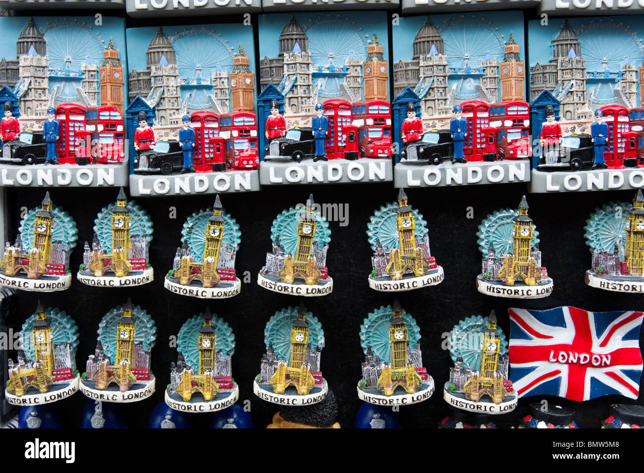 Fridge magnet souvenirs of famous London sights, England, Britain, UK - Stock Image