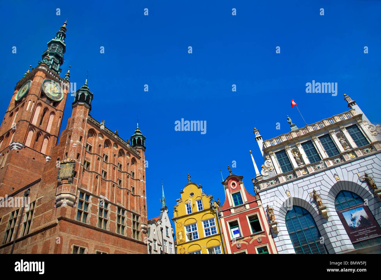 city hall Artus Court old town Gdansk Poland - Stock Image