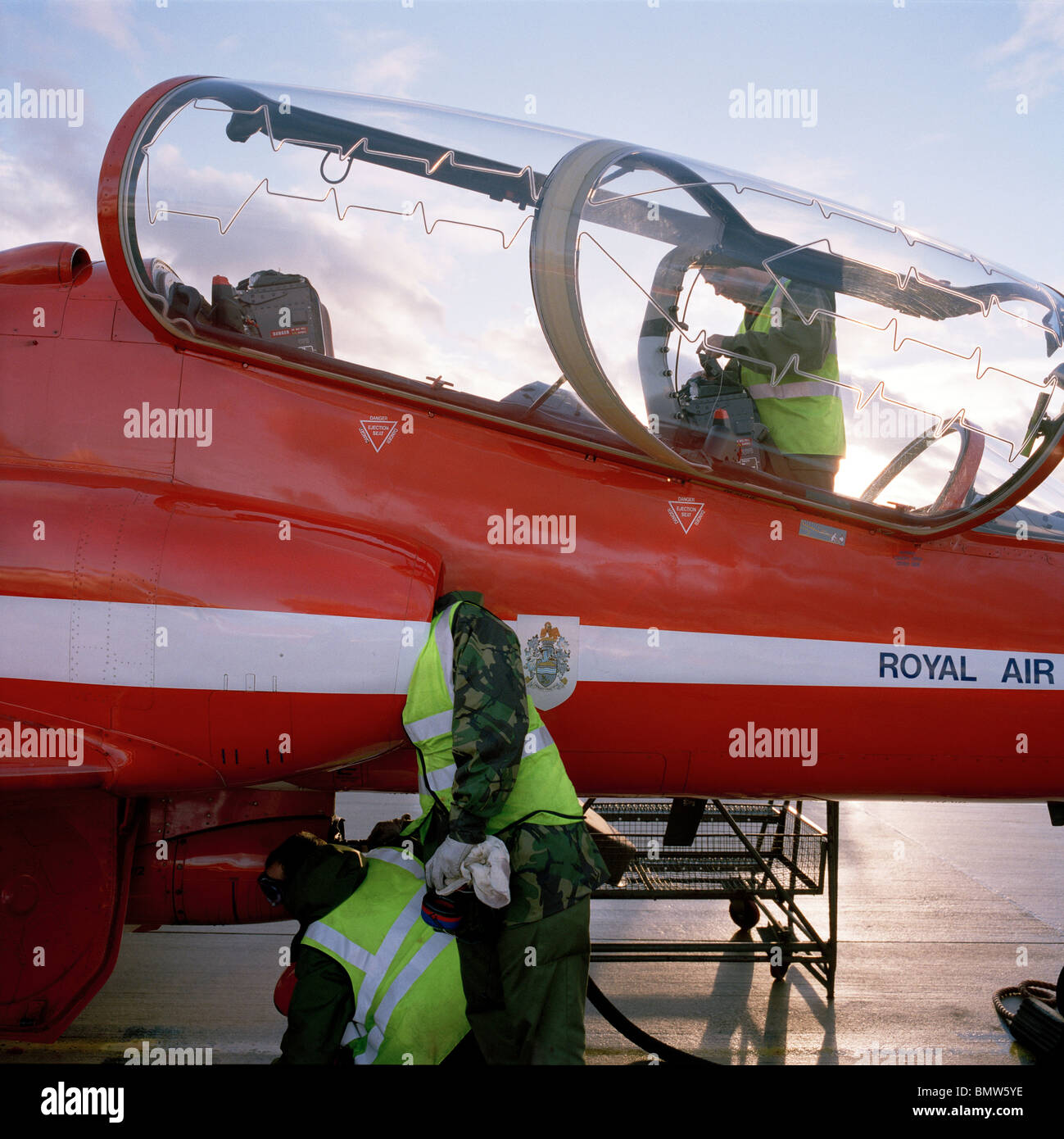 Ground Crew Prepare Bae Systems Hawk Jet Of The Red Arrows Stock