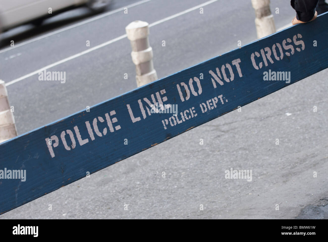 A Police Line Do Not Cross Sign in Times Square New York City, USA - Stock Image