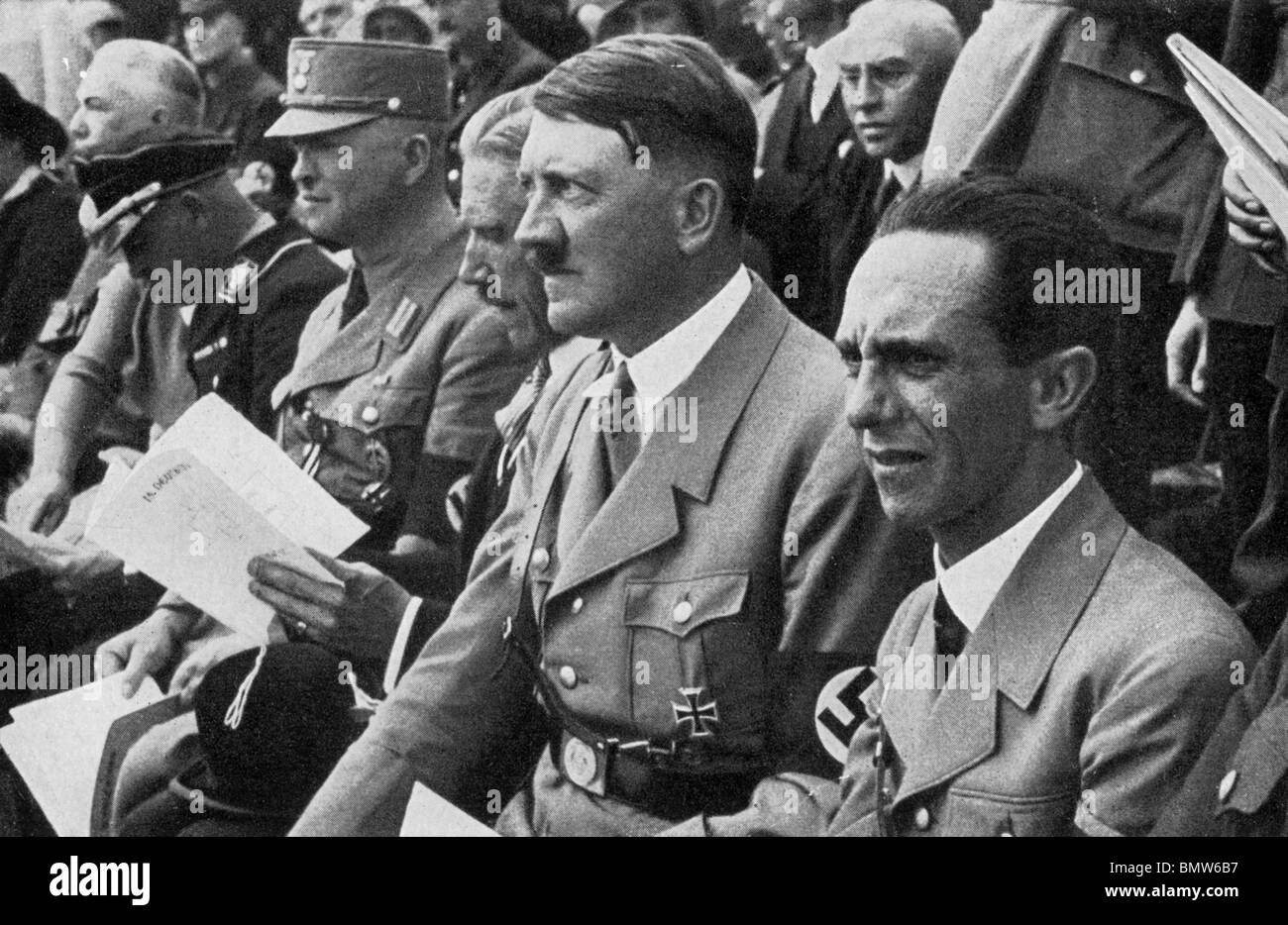 ADOLF HITLER with Joseph Goebbels at right about 1933 - Stock Image