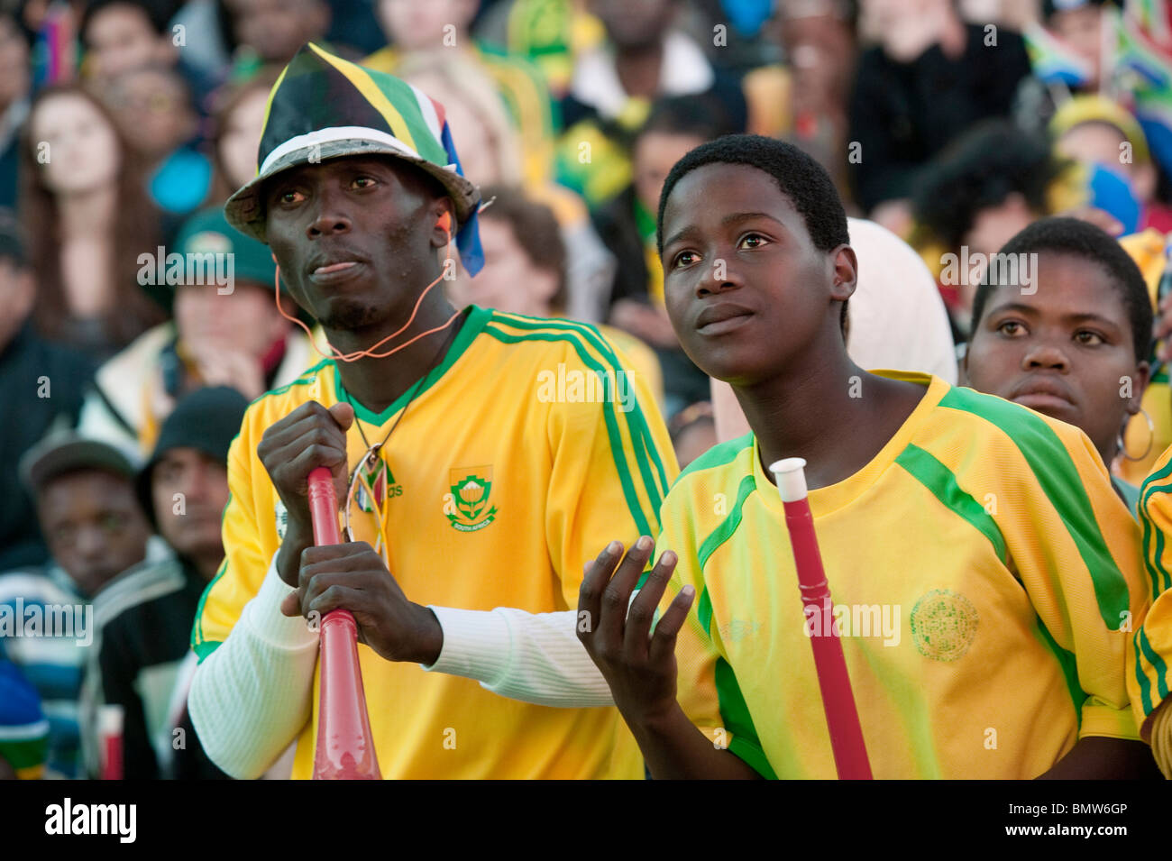 Public viewing of the FIFA World Cup 2010 at V&A Waterfront in Cape Town South Africa - Stock Image