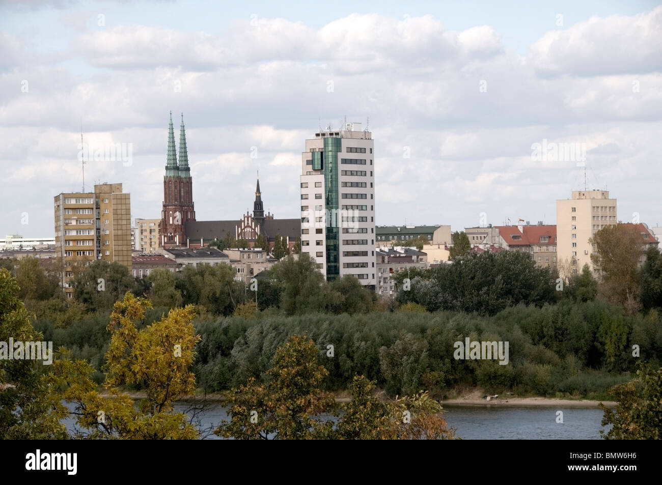 Aerial, panoramic view of the Praski, Praga district skyline of St. Florian's Church by  Vistula, Wisla River, - Stock Image