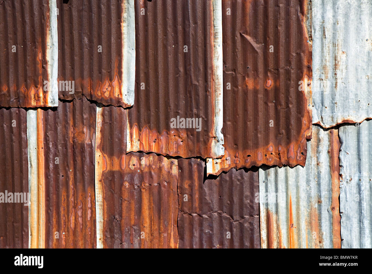 Rusting corrugated iron sheets on wall of shed Texas USA - Stock Image