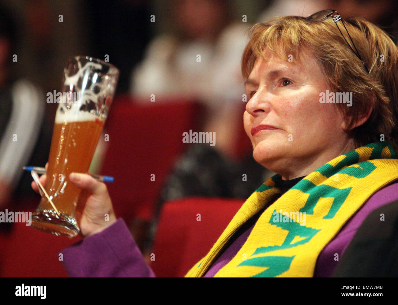 Western Cape Premier HELEN ZILLE holding a glass of bavarian beer Stock Photo