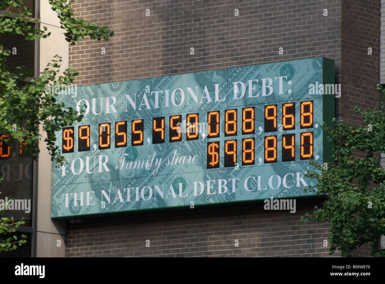 The National Debt Clock in New York City USA - Stock Image