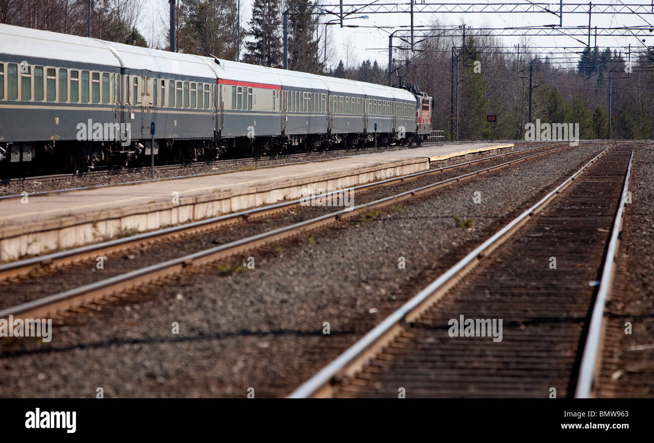 Finnish passenger train at Suonenjoki station Finland - Stock Image