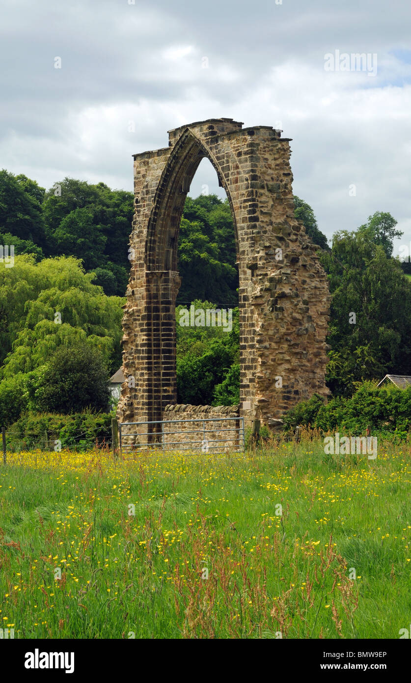 The ruins of Dale Abbey, in the village of Dale Abbey, Derbyshire, England - Stock Image