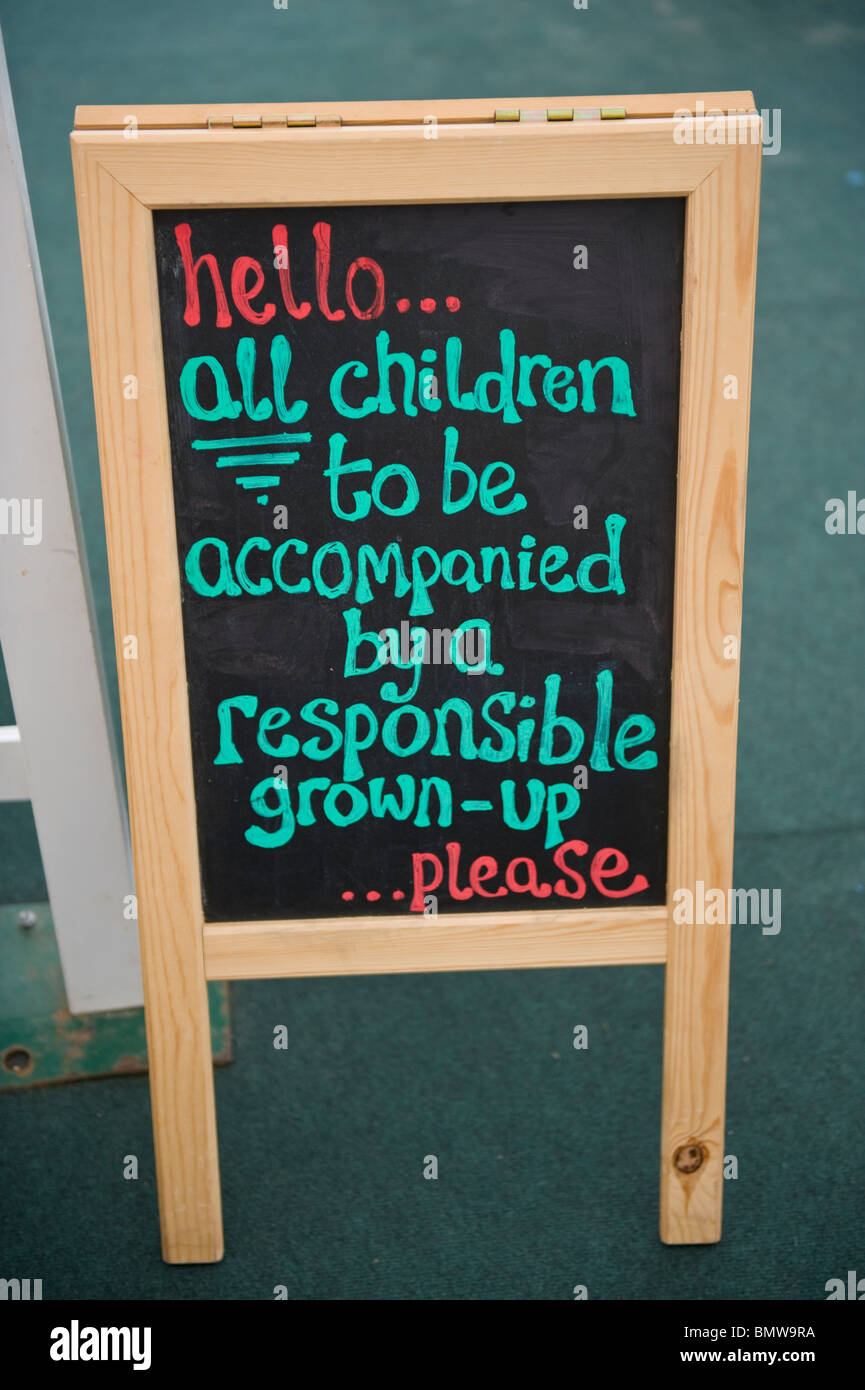 Chalkboard sign in Hay Fever children's space at Hay Festival 2010 Hay on Wye Powys Wales UK - Stock Image