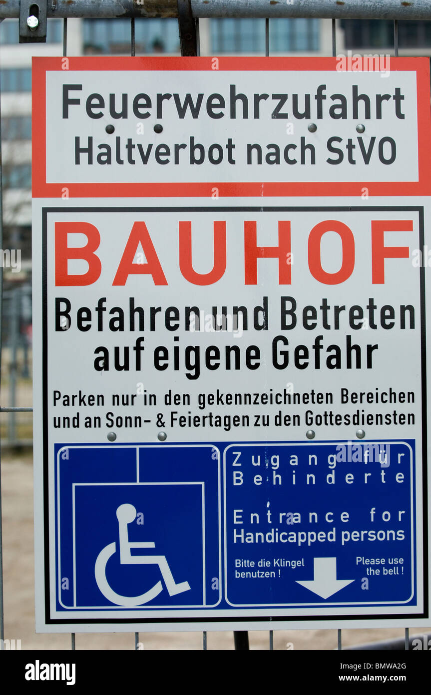 Construction site safety measures sign Berlin Germany - Stock Image
