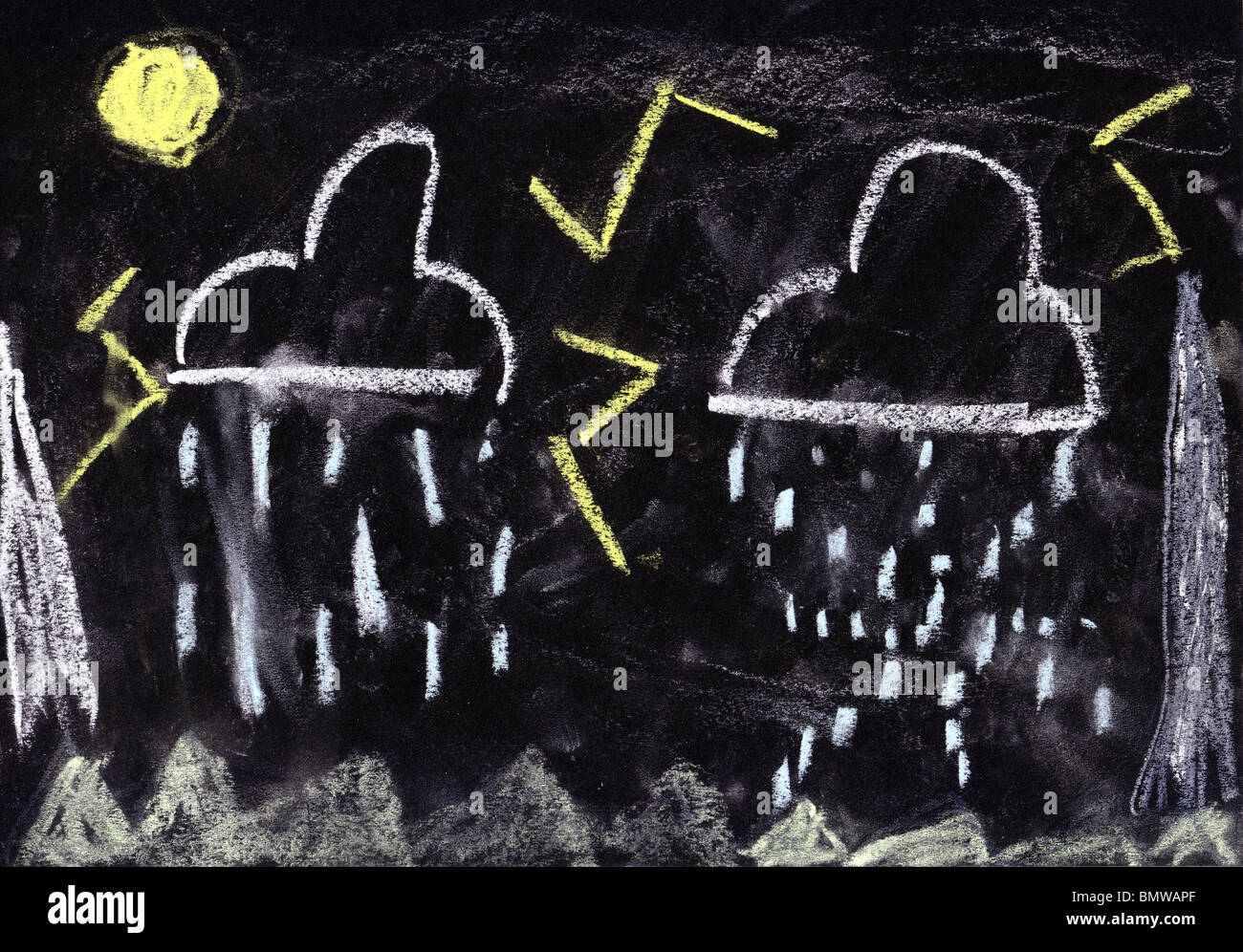 child's chalk drawing bad weather, black paper background - Stock Image