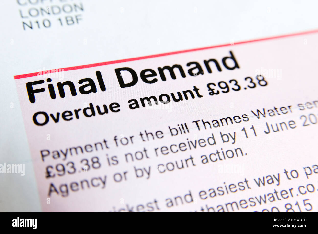 Final Demand for overdue Thames Water bill, England, UK - Stock Image